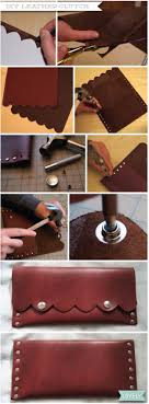 diy scalloped leather clutch