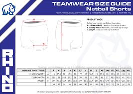 Netball Shorts Sizing Guide Rhino Sport Leisure Australia