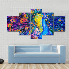 colorful peacock modern art canvas panel painting tiaracle on colorful wall art canvas with colorful peacock modern art multi panel canvas wall art tiaracle