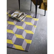 narrow grey and yellow rug