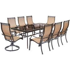 hanover patio furniture. Hanover Monaco 9-Piece Aluminum Outdoor Dining Set With Rectangular Glass-Top Table And Patio Furniture -