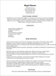 Export Agent Sample Resume Air Import Export Agent Resume Template Best Design Tips 2