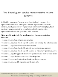 Top 8 hotel guest service representative resume samples In this file, you  can ref resume ...
