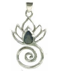 lotus flower swirl pendant stone sterling silver labradorite cw11rv0f2al