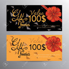 The Word Gift Voucher Template With Red Bow Ribbons And Hand Drawn The Word