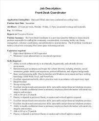 job description for front desk coordinator