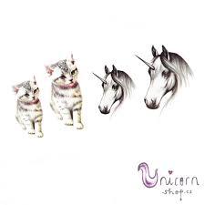 Nalepovací Tetování Koťátko A Jednorožec