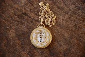vintage watch pendant necklace wind up