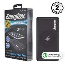Pin sạc dự phòng Energizer Sạc không dây Qi - Quick Charge 3.0 10,000mAh -  QE10000CQ (Đen) - Pin sạc dự phòng [Hồ Chí Minh]