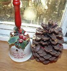 Glass and Holly Porcelain Hand Held Christmas Bell   Etsy