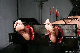 Rack bondage girl feet torture