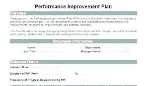 Personal Improvement Plan Template Hospital Performance Improvement Plan Template