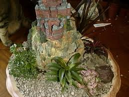 dish gardens. A Dish Garden With Castle, Waterfall And Plants Gardens