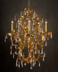 old gold leaves chandelier with crystal