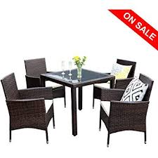 wisteria lane outdoor patio dining table set 5 piece gled dining table chairs sectional furniture conversation set cushioned garden lawn bar furniture