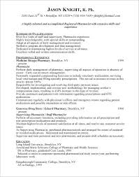 Resume Objective For Pharmacist