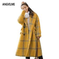 2018 angvilme 2017 yellow plaid oversize cashmere overcoat winter coat women woolen blend jacket poncho wool coat warm tweed trench from moto