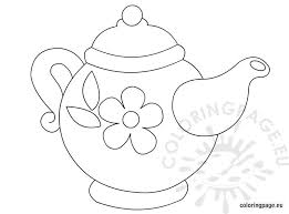Small Picture Teapot with flower pattern Coloring Page