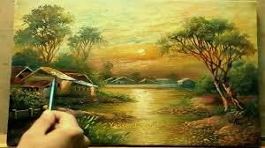 oil painting landscape moonlight by yasser fayad ياسر فياض