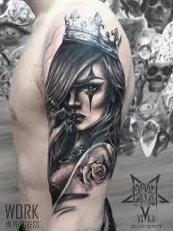 девушка в чикано мужской рукав сделать тату у мастера вики салон