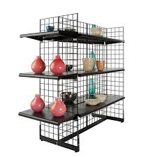 gridwall gondola shown with optional shelves and accessories sold separately