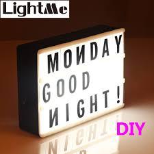 Led Combination Light Box Night Lamp Diy Black Letters Usb Port