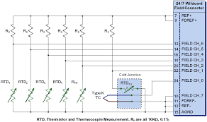 rtd amplifier circuit, measuring rtds, connecting rtd to analog to 3 Wire Rtd Sensor connecting multiple rtds, thermistors, and thermocouples with cold junction compensation to an a 3 wire rtd temperature sensors
