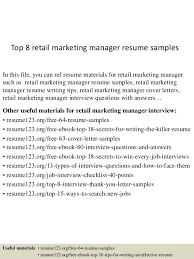 Resume Samples Marketing Top 8 Retail Marketing Manager Resume Samples