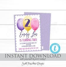 Girl Birthday Invitation Template Girl Birthday Invitation Purple Balloon Invite Pink