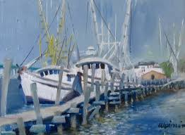 i decided to paint the shrimp boats docked near fort myers beach this morning while it was busy on the water between the ft myers beach key and florida