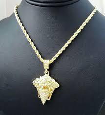 rope chain with pendant hip hop iced out gold plated masked thug medusa pendant rope chain rope chain coin pendant