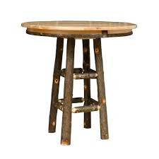 tall round wood bar table rustic hickory pub for or wooden