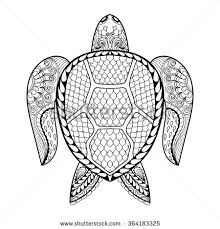 Small Picture Hand drawn sea Turtle mascot for adult coloring pages in doodle