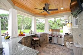 Outdoor Kitchen Designs With Pool Interesting Outdoor Kitchen Bar Patio With County Ceiling Fan Image By Homes Inc