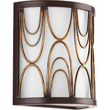 progress lighting cirrine collection 1 light antique bronze wall sconce with etched white glass