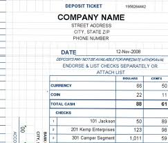 Deposit Templates Deposit Ticket Template Excel Deposit Slip Template