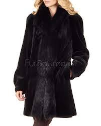 reversible sheared mink fur coat with fox trim in black