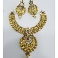 Gold Jadtar Set Design Buy Quality 916 Gold Ladies Jadtar Antique Bridal Necklace