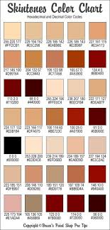 Rgb And Hex Codes For Different Skin And Hair Tones Skin