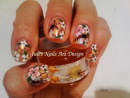 Nail Art Design - Bees,honey comb and flowers on natural nails ...