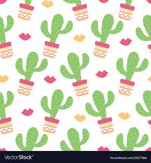 Cactus Succulent Landscape Design Seamless Pattern Cactuses Succulents With Nice