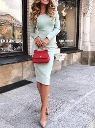 High Waist Long Sleeve Midi Dress in 2020 | <b>Fashion</b>, Work attire ...