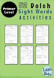 Dolch Sight Words Activities Primer / Kindergarten Level | Little ...