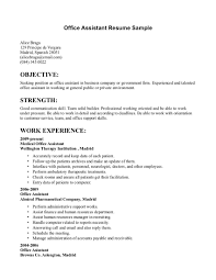 Resume For Office Assistant Office Administrative Assistant Resume