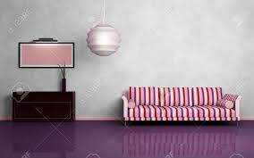 Striped Sofa Round Chandelier Brown Chest Of Drawers Pink