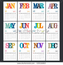 12 month complete set 12 months 2017 calendar stock vector 530116063