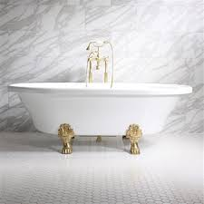 francesca 73 coreacryl extra wide acrylic double ended clawfoot bathtub package with medici feet victoriana freestanding faucet and victorian drain in
