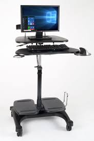 standing computer desk. Plain Desk Height Adjustable Mobile Computer Standing Desk Cart Additional 1  On U