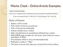 Works Cited Mla Format Online Newspaper Article