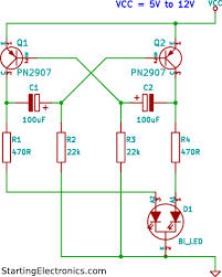 two colour led flasher circuit using tri colour led two colour led flasher circuit diagram